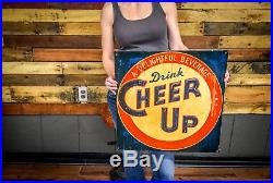 Vintage 1940's Cheer Up Soda Pop Gas Station Embossed Metal Sign Scarce Advert