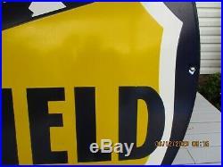 Vintage 1940's RICHFIELD 2-sided Porcelain Gas and Oil Dealers Sign