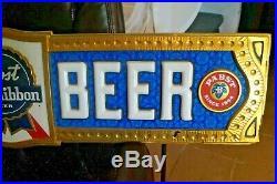 Vintage 1940s 50s Era Pabst Blue Ribbon COLD BEER Bar Advertising Sign 48 X 10