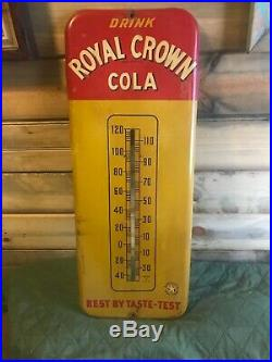 Vintage 1940s RC Royal Crown Cola Soda Pop 26 Metal Thermometer Sign