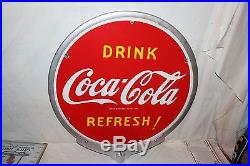Vintage 1941 Coca Cola Soda Pop 2 Side 32 Lollipop Porcelain Metal Sign WithFrame