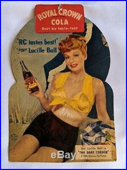 Vintage 1947 Lucille Ball Royal Crown Rc Cola 2-sided Store Display I Love Lucy