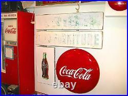 Vintage 1948 Porcelain Coca Cola Button Disc / Bottle Flange (2 Sided) Sign Rare