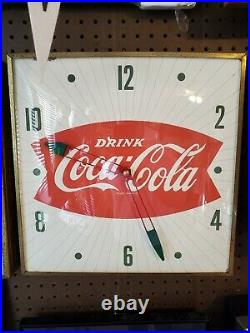 Vintage 1950's Coca-cola Fishtail Pam Advertising Clock Sign