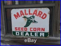 Vintage 1950's Mallard Seed Corn Sign, 18 X 24