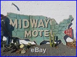 Vintage 1950s Midway Motel Wooden Highway Sign Billboard Reflective US Map