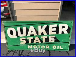Vintage 1950s Quaker State Motor Oil Gas Station 70 Embossed Metal Sign