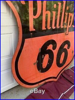 Vintage 1955 Phillips 66 Porcelain Double Sided Sign Orange/black Shield Shop A+