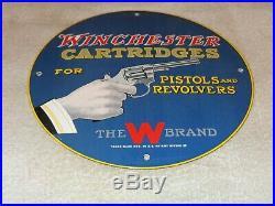 Vintage 1957 Winchester Cartridges Pistol Revolver 11 3/4 Porcelain Metal Sign