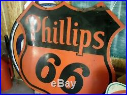 Vintage 1958 Phillips 66 Porcelain 6ft Double Sided Sign