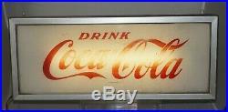 Vintage 1960s Coke Coca Cola Soda Metal Case Lighted Hanging Advertising Sign