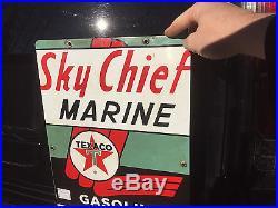 Vintage 1962 Texaco Sky Chief Marine Gasoline outboard Metal Sign Gas Oil 18X12