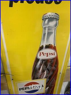 Vintage 1965 Pepsi-Cola Vertical MINTY Metal Bottle Sign GAS OIL SODA 46 X 17