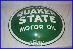Vintage 1965 Quaker State Motor Oil Gas Station 24 Bubble Front Metal Sign