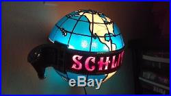 Vintage 1976 Schlitz Giant 13 Dia Lighted Shimmer Motion World Globe Beer Sign