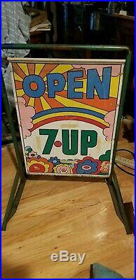 Vintage 7 up two sided, Peter Max style Sign