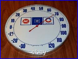 Vintage AC GM DELCO 12 Round Thermometer (Works!)