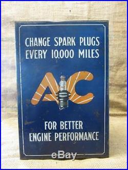 Vintage AC Spark Plugs Storage Cabinet Antique Automotive Part Store RARE 9295