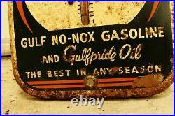 Vintage Advertising Gulf Oil Gas Thermometer Garage Store Auto Petroliana