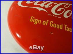 Vintage Advertising Sign- Vintage 16 In. Coca-cola Button Sign- Vintage Diner