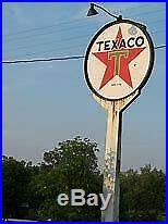 Vintage All Original 6Texaco Gas Station Sign with 12' Pole & Two Lights