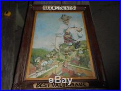 Vintage Antique 1904 LUCAS PAINTS Self Framed Tin Advertising SIGN GREAT GRAPHIC