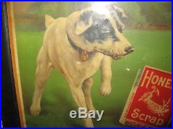 Vintage Antique 1920s Honest Scrap Tobacco Chromolithograph Advertising Sign
