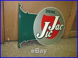 Vintage Antique JIC JAC Soda Flange Sign Non Porcelain Stout Sign CoMUST SEE