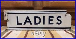 Vintage Antique LADIES Flange Porcelain Sign Restroom Bathroom Gas Station