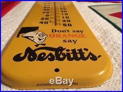 Vintage Antique Nesbitts Cola Tin Non Porcelain Bottle Cap Thermometer Sign