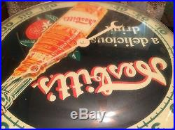 Vintage Antique Nesbitts Orange Pam Clock Co. Tin Non Porcelain Thermometer Sign