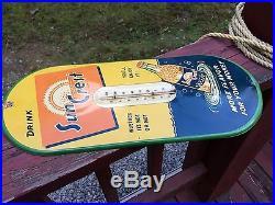 Vintage Antique Sun Crest Tin Non Porcelain Bottle Thermometer Sign Suncrest WOW