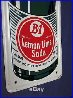 Vintage B-1 Lemon-Lime Soda Embossed Metal Sign Non Porcelain Kick PlateSWEET