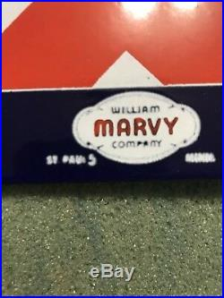 Vintage BARBER SHOP Double SIDED Flange PORCELAIN WILLIAM MARVY CO ST PAUL MN