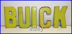 Vintage BUICK Gas Station Dealership Metal Letters Sign 7.5 x 30 RARE