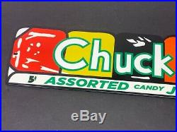 Vintage Chuckles Assorted Candy Jellies 14 X 4 Advertising Metal Sign Gas Oil