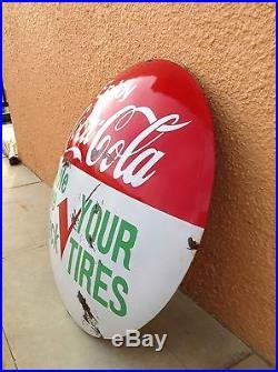 Vintage Coca-Cola Dome Sign. Vintage Soda and Tire Bubble Sign