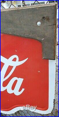 Vintage Coca Cola Double Sided Porcelain Die Cut Sign Yellow Bottle Buttons 1939