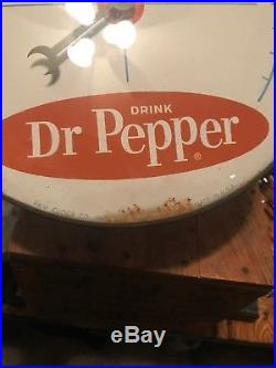 Vintage Dr Pepper Advertising Sign Thermometer Pam Clock Hot Cold