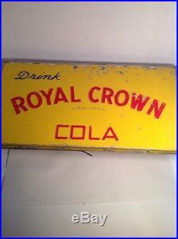 Vintage Drink ROYAL CROWN Cola SIGN embossed Cooler Chest lid RC soda Man Cave