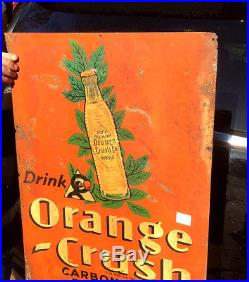 Vintage Early 1938 Orange Crush Soda Pop Sign With Crushy Bottle Flower Graphic