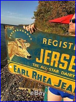 Vintage Early 2sided Jersey Dairy Cow Beef Farm Milk Metal Sign With Graphic 35X24