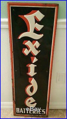 Vintage Exide Batteries Embossed Sign 12-54 ADFORM 1483-A