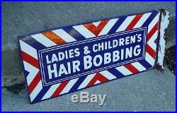 Vintage Flange Porcelain Barber Shaving Barbershop Beautyshop Hair Bobbin Sign