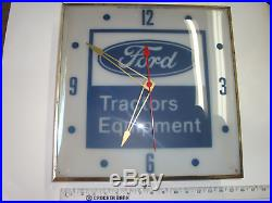 Vintage Ford Tractors Equipment Clock Neon Light Pam Electric Clock Company