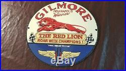 Vintage Gilmore Gasoline Porcelain Champion Gas Service Station Pump Plate Sign