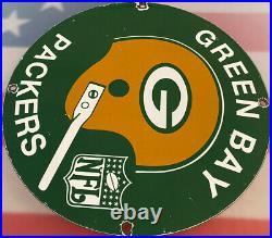 Vintage Green Bay Packers Porcelain Stadium Sign Wisconsin NFL Lambeau Field