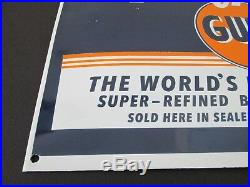 Vintage Gulfpride porcelain sign original orange blue white advertising man cave