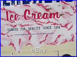 Vintage HERSHEY'S ICE CREAM Advertising Sign embossed large figural cone dairy