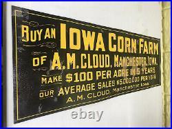 Vintage Iowa Corn Farm Advertising A. M. Cloud Manchester, Iowa Embossed Tin Sign